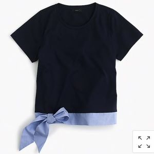 J.Crew Navy Blue Side Bow Tie T Shirt Size XS
